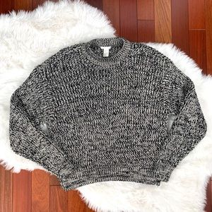 H&M Black/white cable knit sweater S